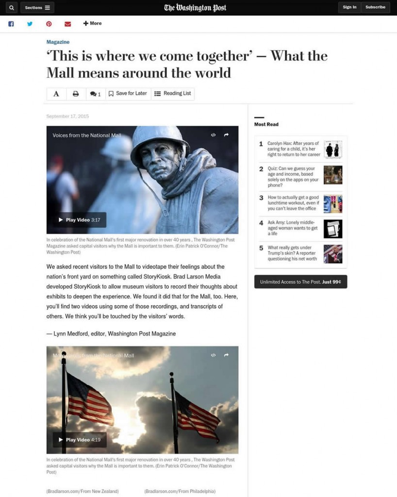 Online version of the story featured compiled stories by Washington Post staff