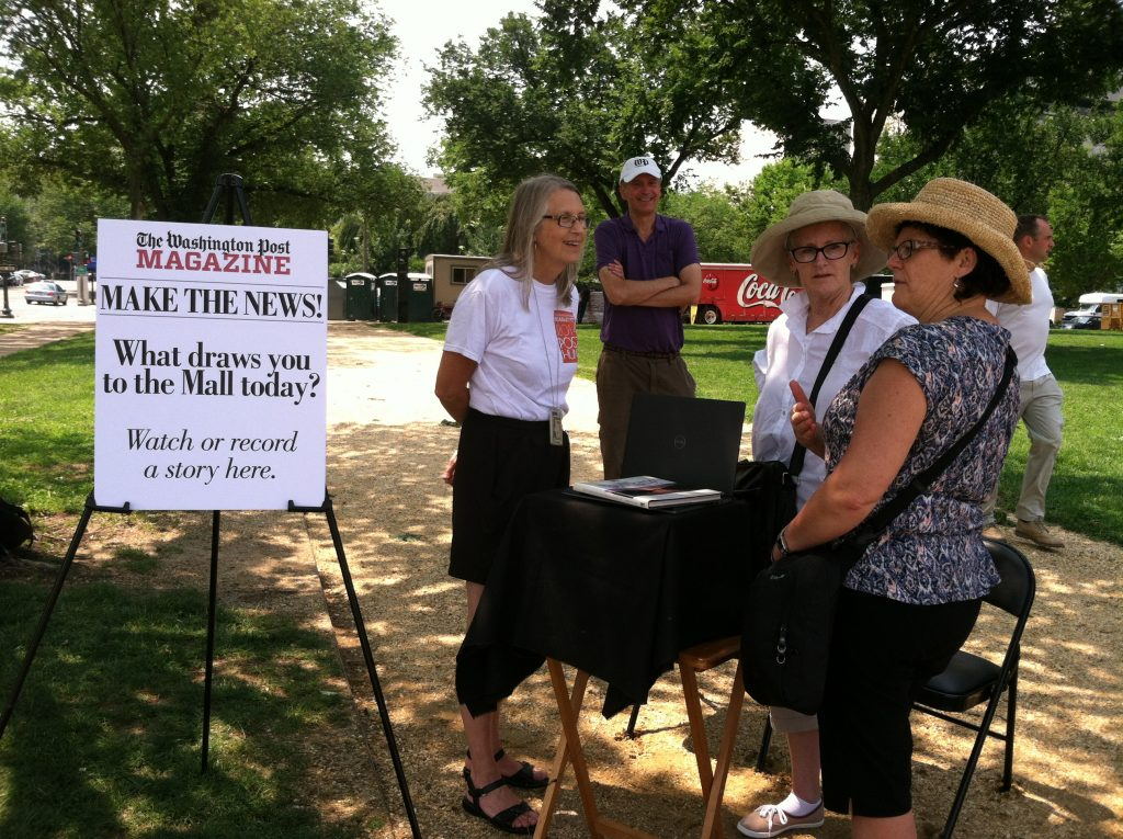 popup Storykiosk with Washington Post Magazine on the National Mall